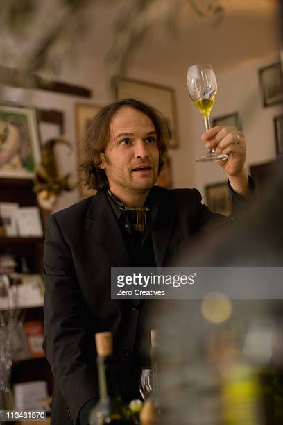 Salesman with virgin olive oil