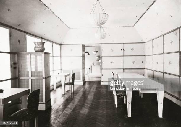 Salesroom of the department of fabrics of the Wiener Werkstaette in Vienna Inner City Kaerntnerstrasse 32 Arranged by Josef Hoffmann in 1917/18...