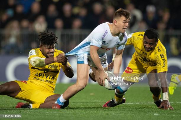 Sales's Will Cliff runs with the ball during the European Rugby Champions Cup match between La Rochelle and Sale Sharks at the Marcel Deflandre...