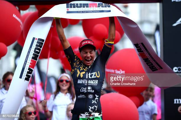 Saleta Castro of Spain celebrates as she wins the womens race during Ironman MaastrichtLimburg on August 6 2017 in Maastricht Netherlands