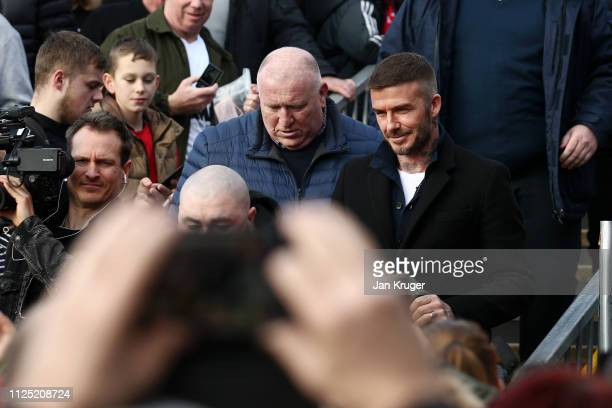 Salford City CoOwner David Beckham arrives at the stadium prior to the Vanarama National League match between Salford City and Dover Athletic at...
