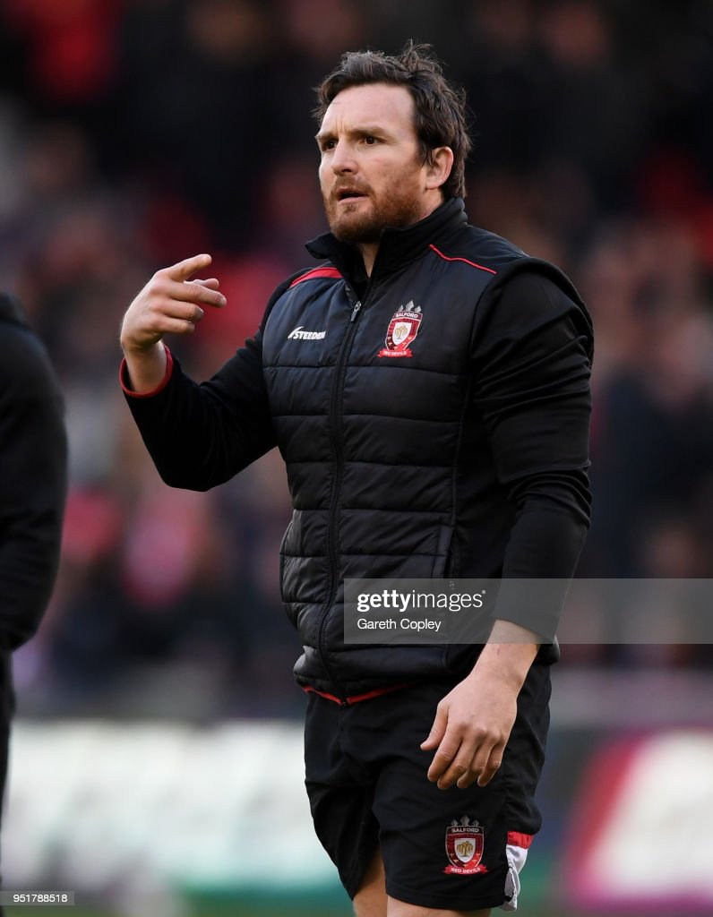 Salford coach Martin Gleeson during the Betfred Super League match between Salford Red Devils and St Helens at AJ Bell Stadium on April 26, 2018 in Salford, England.