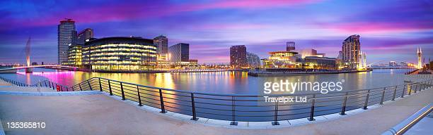 salford quays and media centre, manchester - manchester england stock pictures, royalty-free photos & images