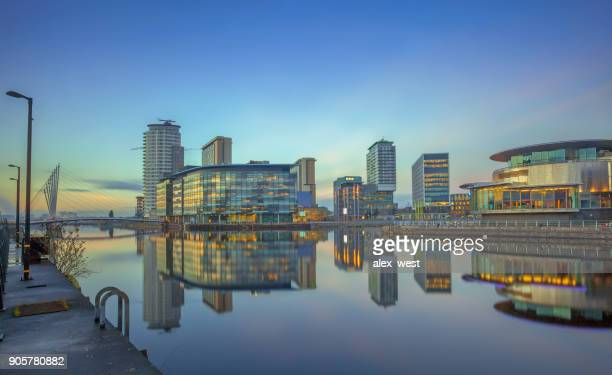 salford quays long exposure in january. - salford stock pictures, royalty-free photos & images