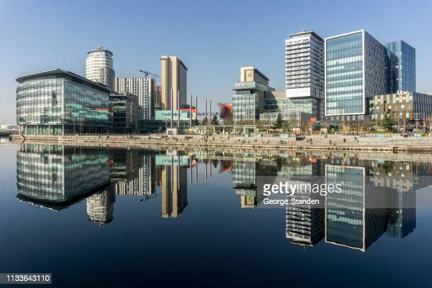salford quays, manchester. - manchester england stock pictures, royalty-free photos & images