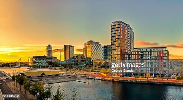 salford quays, manchester - manchester uk stock photos and pictures
