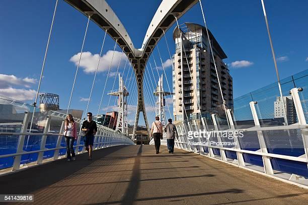 salford quays millennium footbridge - salford stock pictures, royalty-free photos & images