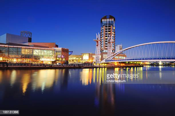 salford quays twilight - salford stock pictures, royalty-free photos & images
