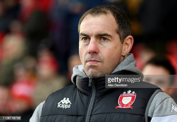 Salford Red Devils head coach Ian Watson during the Betfred Super League match between Salford Red Devils and London Broncos at AJ Bell Stadium on...