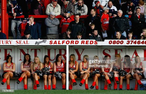Salford Reds pom pom girls during the Engage Super League match between Salford City Reds and Leeds Rhinos at The Willows Stadium on February 11 2007...