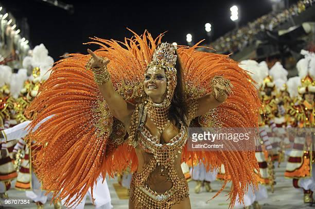Salgueiro's queen of the drums Viviane Araujo dances during the samba school's parade during the first day of Rio de Janeiro's carnival at Marques de...