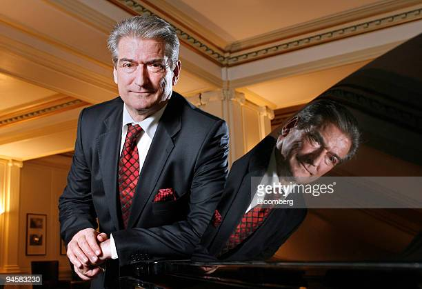 Sali Berisha prime minister of Albania poses in Edinburgh Scotland UK Tuesday Jan 30 2007 Albania isolated from the world under communism and now...
