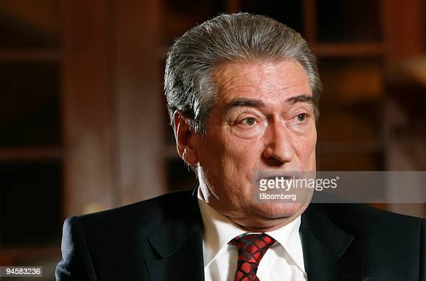 Sali Berisha prime minister of Albania speaks during an interview in Edinburgh Scotland UK Tuesday Jan 30 2007 Albania isolated from the world under...