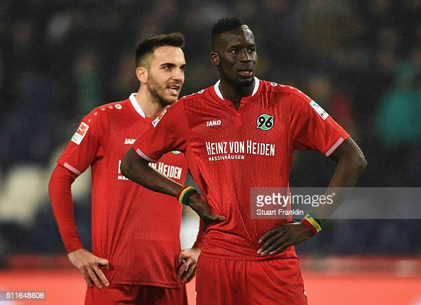 Salif Sané and Kenan Karaman of Hannover look dejected during the Bundesliga match between Hannover 96 and FC Augsburg at HDIArena on February 21...