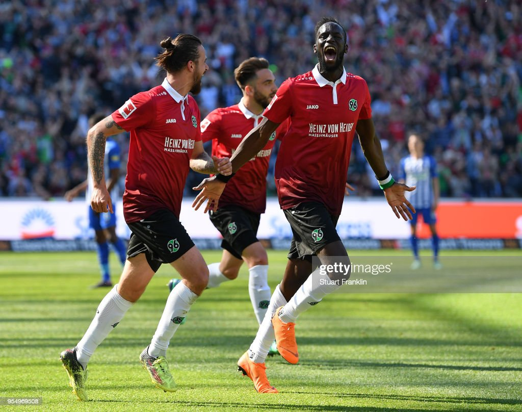 Salif SanŽ of Hannover celebrates scoring the second goal during the Bundesliga match between Hannover 96 and Hertha BSC at HDI-Arena on May 5, 2018 in Hanover, Germany.