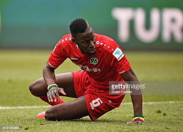 Salif Sané of Hannover looks dejected during the Bundesliga match between Hannover 96 and 1 FC Koeln at HDIArena on March 12 2016 in Hanover Germany