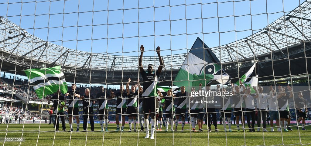 Salif SanŽ of Hannover waves goodbye to the fans after his last home game with Hannover after the Bundesliga match between Hannover 96 and Hertha BSC at HDI-Arena on May 5, 2018 in Hanover, Germany.