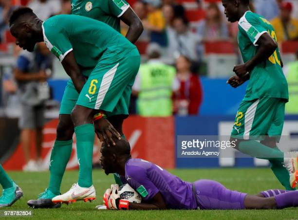 Salif Sane and goalkeeper Abdoulaye Diallo of Senegal in action during the 2018 FIFA World Cup Russia Group H match between Poland and Senegal at the...