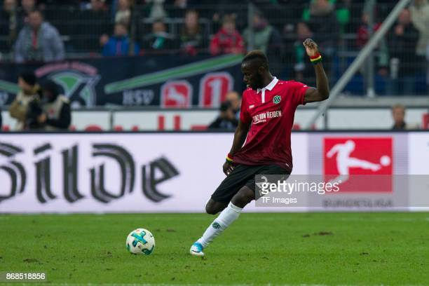 Salif Sane of Hannover 96 controls the ball during the German Bundesliga match between Hannover 96 v Borussia Dortmund at the HDI Arena on October 28...