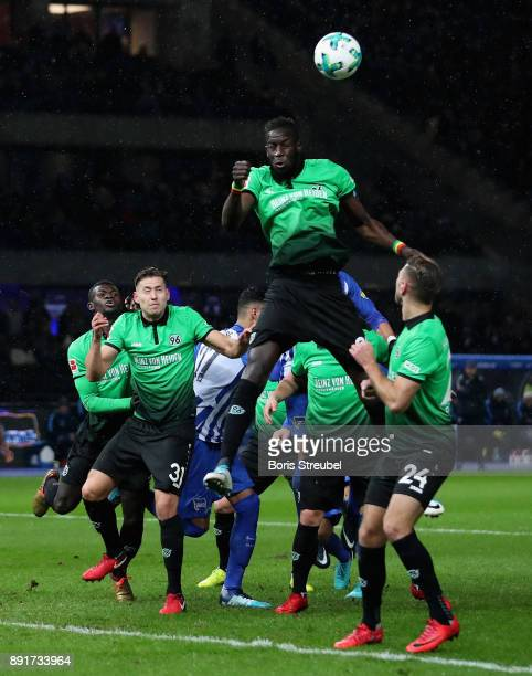 Salif Sane of Hannover 96 jumps for a header during the Bundesliga match between Hertha BSC and Hannover 96 at Olympiastadion on December 13 2017 in...