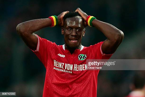 Salif Sane of Hannover appears frustrated during the first Bundesliga match between Hannover 96 and 1 FSV Mainz 05 at HDIArena on February 6 2016 in...