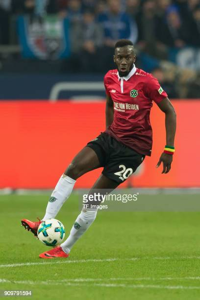 Salif Sane of Hannover controls the ball during the Bundesliga match between FC Schalke 04 and Hannover 96 at VeltinsArena on January 21 2018 in...