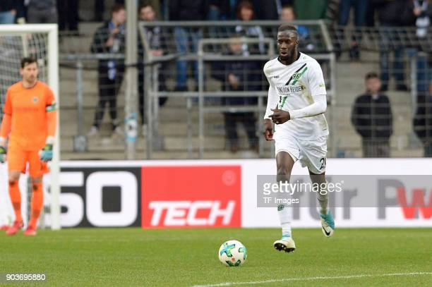 Salif Sane of Hannover controls the ball during the HHotelscom Wintercup match between Arminia Bielefeld and Hannover 96 at SchuecoArena on January 6...