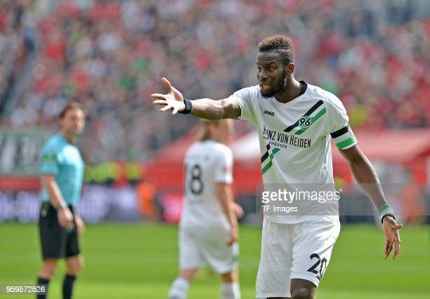 Salif Sane of Hannover gestures during the Bundesliga match between Bayer 04 Leverkusen and Hannover 96 at BayArena on May 12 2018 in Leverkusen...