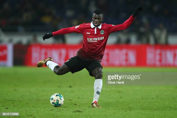 Salif Sane of Hannover in action during the Bundesliga match between Hannover 96 and 1 FSV Mainz 05 at HDIArena on January 13 2018 in Hanover Germany