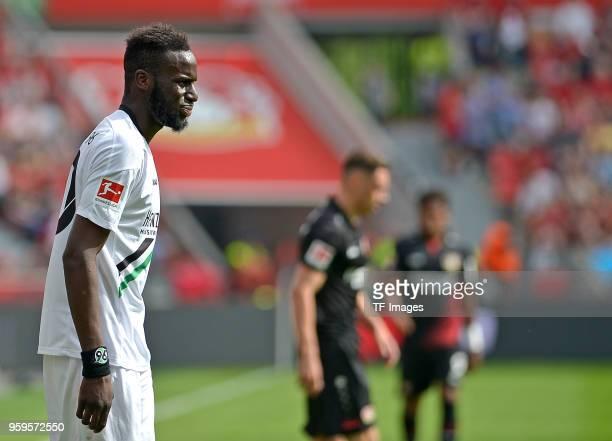 Salif Sane of Hannover looks on during the Bundesliga match between Bayer 04 Leverkusen and Hannover 96 at BayArena on May 12 2018 in Leverkusen...