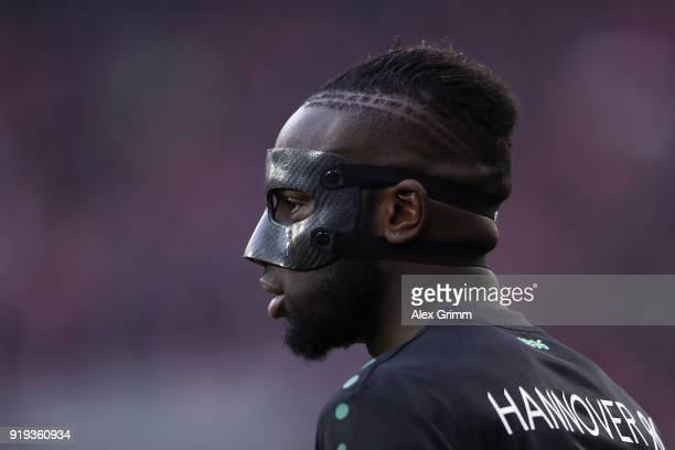 Salif Sane of Hannover reacts during the Bundesliga match between 1 FC Koeln and Hannover 96 at RheinEnergieStadion on February 17 2018 in Cologne...