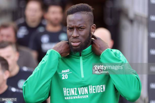 Salif Sane of Hannover walks out of the tunnel prior to the Bundesliga match between VfB Stuttgart and Hannover 96 at MercedesBenz Arena on April 14...