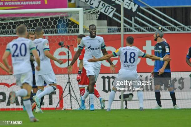 Salif Sane of Schalke celebrates scoring his teams first goal during the Bundesliga match between SC Paderborn 07 and FC Schalke 04 at Benteler Arena...