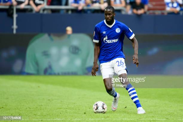 Salif Sane of Schalke controls the ball during the friendly match between FC Schalke 04 and AFC Fiorentina at Veltins Arena on August 11 2018 in...