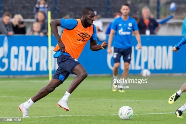 Salif Sane of Schalke controls the ball during the Schalke 04 training session on August 14 2018 in Gelsenkirchen Germany