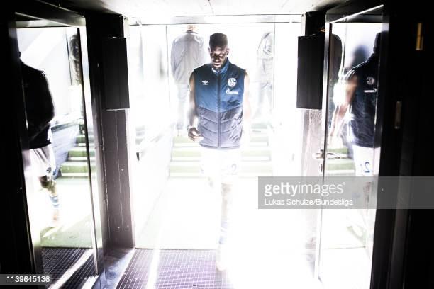 Salif Sane of Schalke leaves the pitch after the Bundesliga match between Borussia Dortmund and FC Schalke 04 at Signal Iduna Park on April 27 2019...