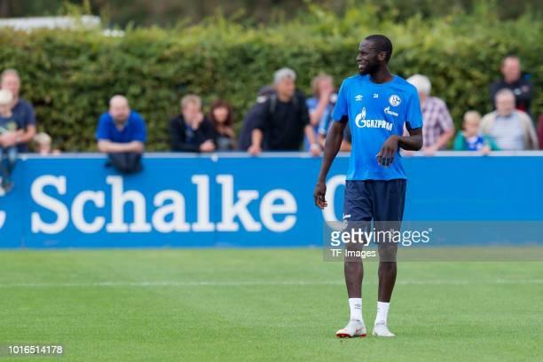 Salif Sane of Schalke looks on during the Schalke 04 training session on August 14 2018 in Gelsenkirchen Germany