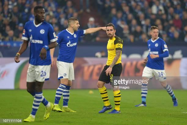 Salif Sane of Schalke looks on Matija Nastasic of Schalke gestikuliert gestik Paco Alcacer of Dortmund looks on Bastian Oczipka of Schalke looks on...