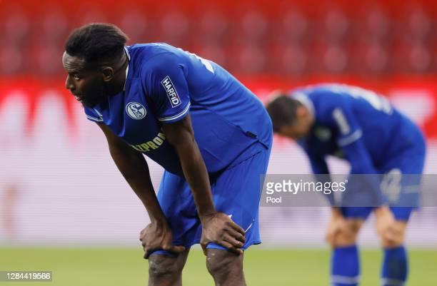 Salif Sane of Schalke reacts after the Bundesliga match between 1. FSV Mainz 05 and FC Schalke 04 at Opel Arena on November 07, 2020 in Mainz,...