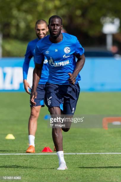 Salif Sane of Schalke runs during the Schalke 04 training session on August 14 2018 in Gelsenkirchen Germany