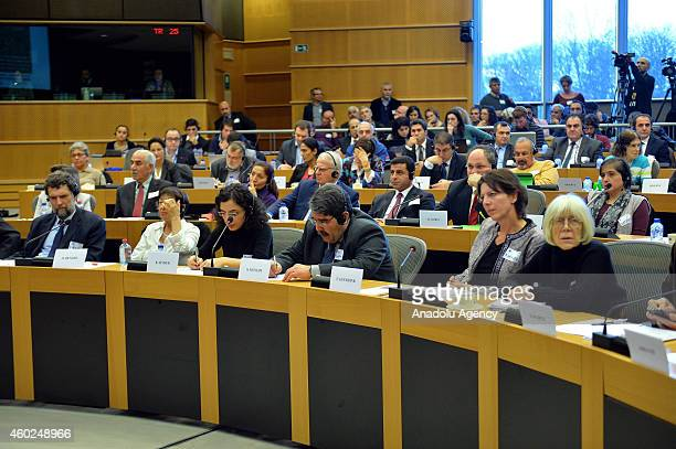 Salih Muslim Muhammad cochairman of the Democratic Union Party attends the twoday 11th Kurdish Conference on the European Union Turkey the Middle...