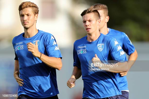 Salih Ucan and Miha Zajc of Empoli FC in action during training session on September 18 2018 in Empoli Italy