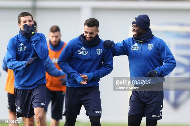 Salih Ucan Francesco Caputo and Afriyie Acquah of Empoli FC during training session on November 21 2018 in Empoli Italy