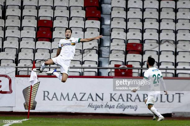 Salih Ucan of Aytemiz Alanyaspor celebrates after scoring a goal during the Turkish Super Lig Week 9 match between Fraport TAV Antalyaspor and...