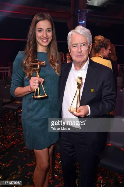 Saliha Oezcan and Frank Elstner attend the YouTube Goldene Kamera Digital Awards at Kraftwerk on September 26 2019 in Berlin Germany