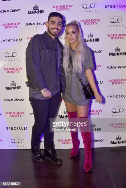 Salihs World and Lottie Tomlinson arrive at Lottie Tomlinson's 'Rainbow Roots' book launch at Tape London on November 2 2017 in London England