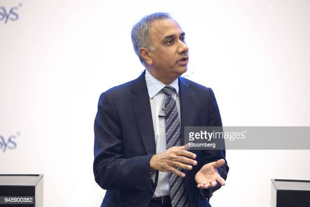 Salil Parekh chief executive officer of Infosys Ltd speaks during a news conference in Bengaluru India on Friday April 13 2018 Parekh's comments of...