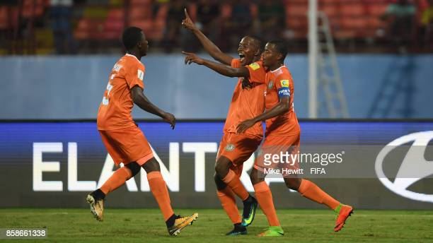 Salim Abdourahmane of Niger celebrates after scoring the first goal of the game during the FIFA U17 World Cup India 2017 group D match between Korea...