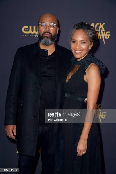 Salim Akil and Mara Brock Akil executive producers of 'Black Lightning' attend the World Premiere of 'Black Lightning' at National Museum Of African...