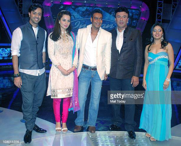 Salim Merchant Kangana Ranaut Ajay Devgan Anu Mallik and Sunidhi Chauhan on the sets of Indian Idol 4 in Mumbai on July 20 2010